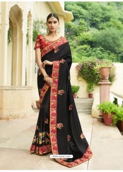 Awesome Black Embroidered Designer Silk Wedding Saree