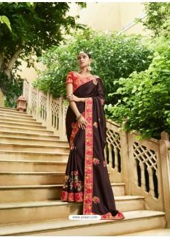Deep Scarlet Embroidered Designer Silk Wedding Saree