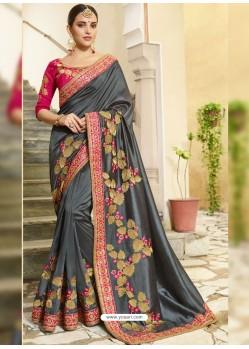 Dull Grey Embroidered Designer Silk Wedding Saree