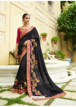 Black Embroidered Designer Silk Wedding Saree