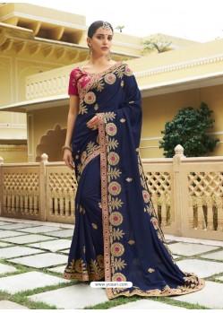 Navy Blue Embroidered Designer Silk Wedding Saree