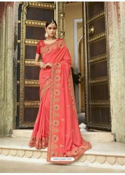 Light Red Embroidered Designer Silk Wedding Saree