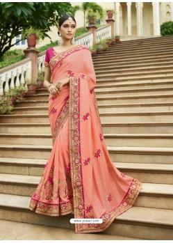 Peach Embroidered Designer Silk Wedding Saree
