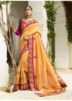Yellow Embroidered Designer Silk Wedding Saree