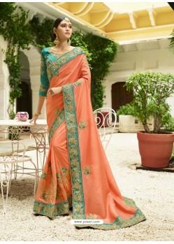 Light Orange Embroidered Designer Silk Wedding Saree