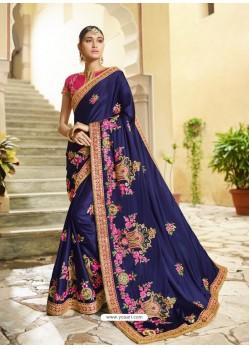 Latest Navy Blue Embroidered Designer Silk Wedding Saree