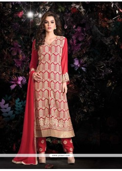 Jaaz Red Georgette Pant Style Suit