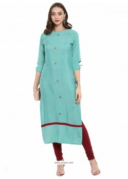 Glorious Sky Blue Cotton Linen Designer Readymade Kurti