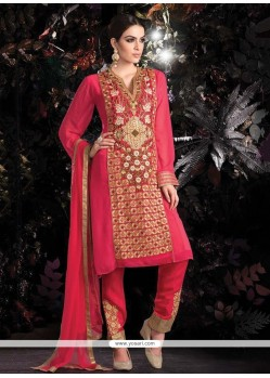 Modish Pink Georgette Pant Style Suit