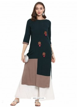 Dark Green Cotton Linen Designer Readymade Kurti