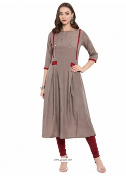 Light Brown Rayon Designer Readymade Kurti