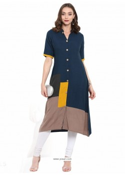 Competent Peacock Blue Designer Cotton Linen Readymade Kurti