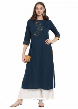 Flawless Peacock Blue Cotton Linen Designer Readymade Kurti