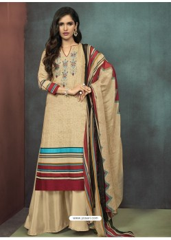 Light Beige Heavy Cotton Embroidered Palazzo Suit