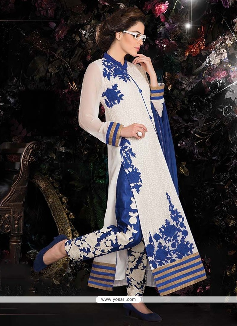 Fab White And Blue Georgette Pant Style Suit