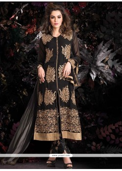 Awesome Black Zari Work Pant Style Suit