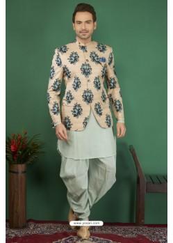 Sea Green Printed Silk Brocade Designer Jodhpuri Kurta Pajama
