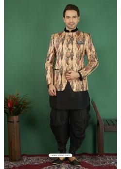 Mind Blowing Black Printed Silk Brocade Designer Jodhpuri Kurta Pajama