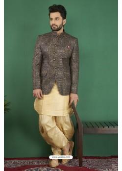 Extraordinary Golden Printed Silk Brocade Designer Jodhpuri Kurta Pajama