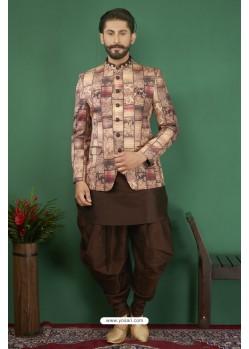 Coffee Brown Printed Silk Brocade Designer Jodhpuri Kurta Pajama