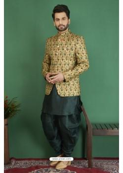 Unbelievable Teal Printed Silk Brocade Designer Jodhpuri Kurta Pajama