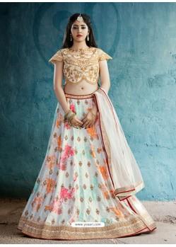 Beige And Multi Colour Silk Embroidered Designer Lehenga Choli