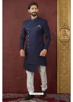 Stunning Navy Blue And White Imported Jaquard Designer Nawabi Sherwani