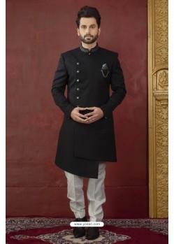 Perfect Black And White Imported Jaquard Designer Nawabi Sherwani