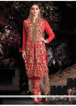 Dazzling Red Georgette Zari Work Pant Style Suit