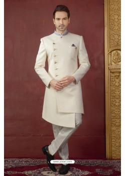Off White Imported Jaquard Designer Nawabi Sherwani