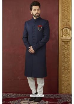 Observable Navy Blue Imported Jaquard Designer Nawabi Sherwani
