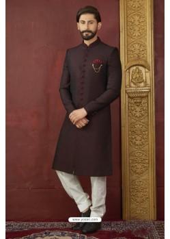 Deep Scarlet Imported Jaquard Designer Nawabi Sherwani