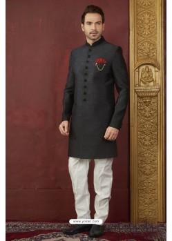 Excellent Black Imported Jaquard Designer Nawabi Sherwani