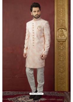 Light Orange Embroidered Imported Jaquard Designer Indo Western Sherwani