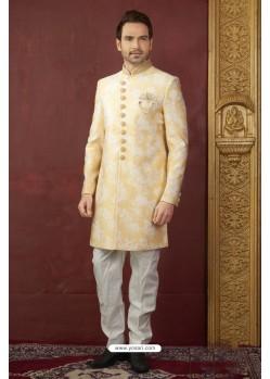Yellow Embroidered Imported Jaquard Designer Indo Western Sherwani