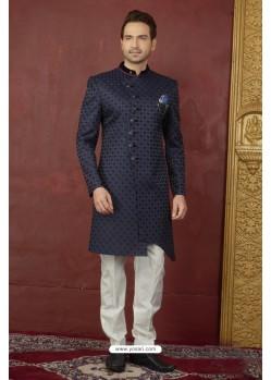Desirable Navy Blue Imported Jaquard Nawabi Sherwani