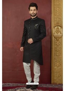 Phenomenal Black Imported Jaquard Nawabi Sherwani