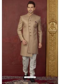 Beige Imported Jaquard Designer Nawabi Sherwani