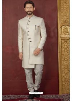 Fabulous White Imported Jaquard Designer Nawabi Sherwani