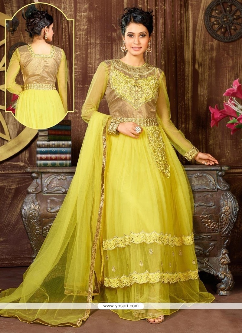 Stupendous Yellow Net Designer Anarkali Suit
