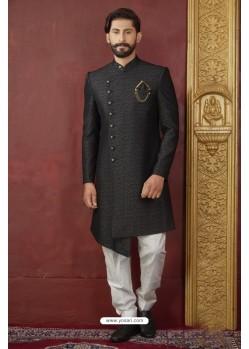 Charming Black Imported Jaquard Designer Nawabi Sherwani