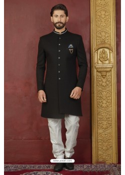 Astonishing Black Imported Jaquard Nawabi Sherwani
