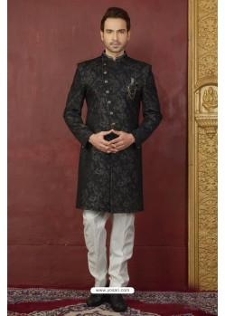 Fashionable Black Imported Jaquard Designer Nawabi Sherwani