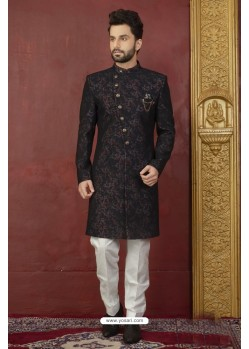 Awesome Black And Deep Scarlet Imported Jaquard Designer Nawabi Sherwani