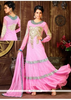 Beautiful Pink Net Designer Anarkali Suit