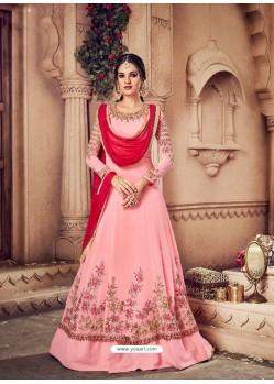 Baby Pink Embroidered Georgette Designer Anarkali Suit