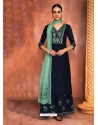 Navy Blue Muslin Silk Embroidered Designer Palazzo Suit