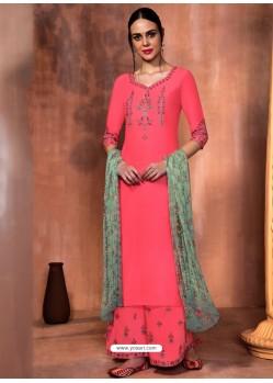 Fuchsia Muslin Silk Embroidered Designer Palazzo Suit