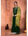 Dark Green Muslin Silk Embroidered Designer Palazzo Suit