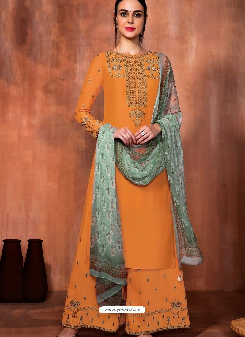 Orange Muslin Silk Embroidered Designer Palazzo Suit